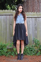 black Sheinside skirt - sky blue romwe top