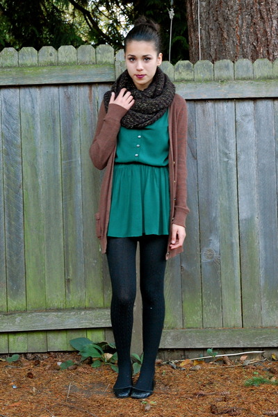 forest green modcloth dress - black Payless tights
