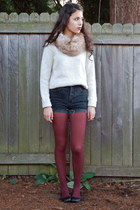 off white H&M sweater - crimson Payless tights