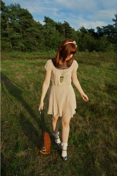 beige Topshop dress - brown vintage bag - black Miu Miu shoes - white pins and n