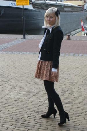 black military H&M jacket - black Fornarina shoes - white Fornarina boots