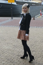 black military H&M jacket - black Fornarina shoes - white Fornarina boots
