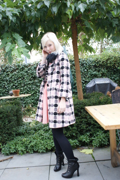 pink Fornarina coat - blue H&amp;M shirt - pink vintage skirt - black viktor &amp; rolf 