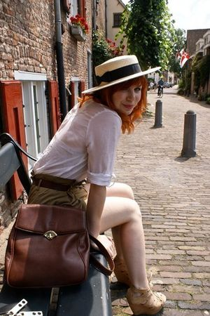 beige Topshop hat - white Desinger Remix blouse - green Zara shorts - brown Zara