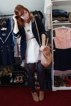 navy Zara jacket - white River Island dress - nude Chloe bag - gold rene sturme