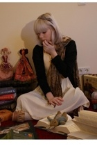 gift accessories - H&M sweater - vintage dress - from my mom scarf - Miu Miu sho