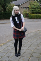Designer Remix blouse - Heaven & Earth dress - Givenchy boots - vintage purse -