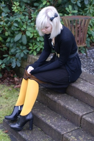 H&M sweater - dept dress - H&M tights - dior shoes - SIX accessories