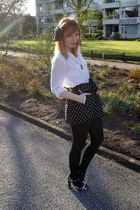 white Designer Remix blouse - black Dahlia shorts - black vintage accessories -