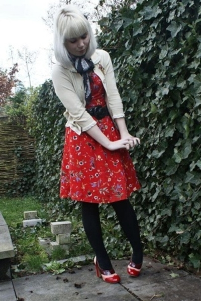 vintage dress - See by Chloe sweater - Miu Miu shoes - viktor & rolf scarf - vin