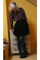 vintage blouse - selfmade skirt - vintage belt - SIX accessories - Steps tights