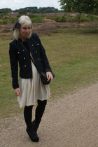 H& jacket - vintage dress - vintage accessories - Miu Miu boots