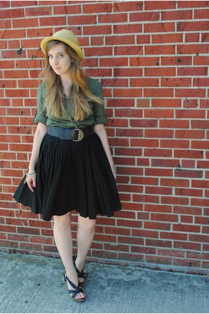 olive green button down blouse - black wedges Blowfish shoes