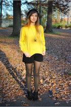 black wedge Mossimo Black boots - yellow 70s vintage sweater - black shorts