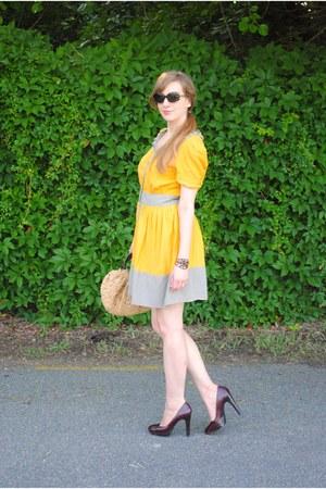 mustard Tulle dress - maroon platforms Michael Kors shoes