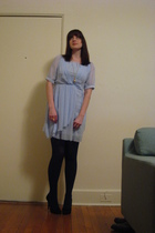blue  dress - black BCBGgirls shoes - gold 1920 necklace - black merona tights