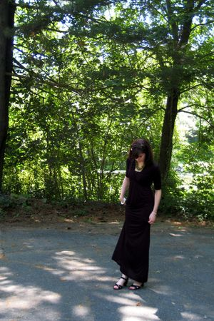 black Pink Rose dress - black b darlin cardigan - black Bandolino shoes - green
