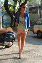blue blazer - pink shorts - aquamarine top