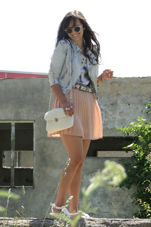 light jeans reserved jacket - white no name bag - powder pink SH skirt - white B