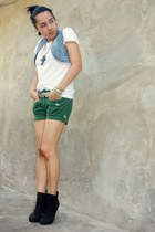 Guess blazer - Hanes shirt - warehouse shorts - BU heels