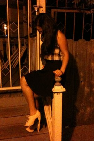 gray DIY shirt - black vintage skirt - white seychelles shoes