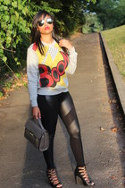 heather gray 31 Phillip Lim sweater - 31 Phillip Lim bag - black Zara heels