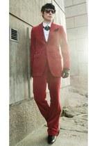 ruby red velvet Tiger of Sweden suit