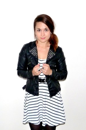 white H&M dress - black F&F jacket - black Promod belt - black JWLRY ring