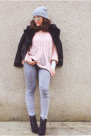 pink Stradivarius sweater - heather gray Lefties hat - black romwe jacket