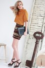 Black-moon-purse-brown-ysl-sandals-light-orange-h-m-top-zara-skirt