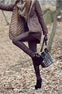 Black-bag-brown-100-polyester-jacket-brown-pants-black-suede-wedges