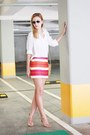 White-h-m-shirt-moon-bag-ray-ban-sunglasses-il-passo-heels-celine-skirt