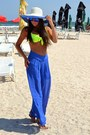 Hat-sunglasses-blue-pants-swimwear-sandals