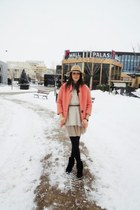 tan Zara sweater - black fringe H&M boots - pink Lovelyshoes coat