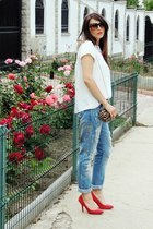 Zara jeans - Zara shirt - animal print BLANCO bag - Stradivarius sunglasses