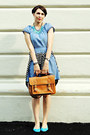 Blue-h-m-dress-brown-new-yorker-bag-blue-h-m-flats