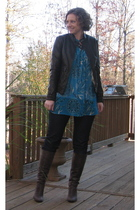 I heart ronson jacket - Lee jeans - J Crew boots - new york & co top