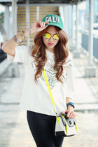 white lasercut Stylehunterph top - green calif Ambercrombie & Fitch hat