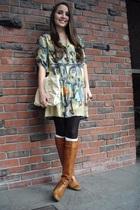 green vintage dress - beige vintage accessories - brown vintage boots