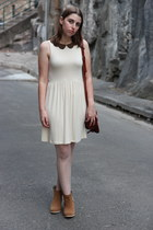cream asos dress - tan asos boots - ivory spot tights Forever New tights