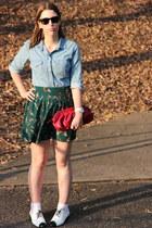 Urban Outfitters skirt - denim shirt Zara shirt - red clutch Gap bag