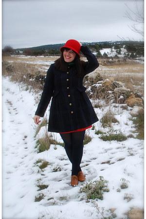 kling hat - modcloth coat - kling dress - Urban Outfitters shoes