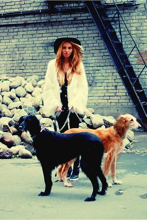Zara boots - faux coat - asos hat - Zara pants