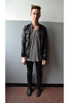 black Mauro Leone boots - black Cheap Monday jeans - black H&M jacket