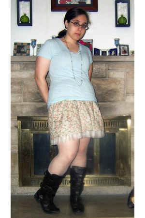 dark brown decree boots - camel modcloth dress - sky blue Forever 21 shirt - neu