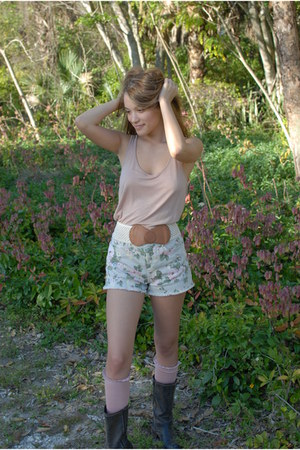 dark brown suede Khols boots - light blue high waisted Forever 21 shorts - nude
