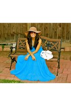 camel hat - sky blue dress - white bag - dark brown sunglasses