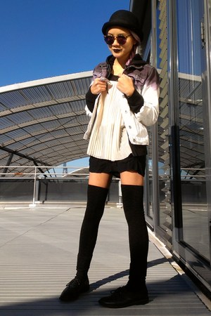black oxfords Jeffrey Campbell shoes - white Levis jacket