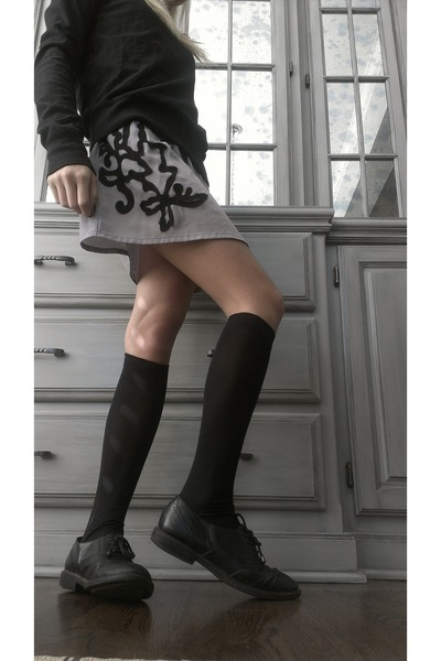 black James Perse sweater - black oxfords Jeffrey Campbell shoes - gray dress