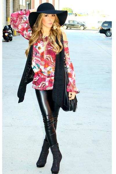 black Kitson hat - black Forever 21 leggings - black H&M purse - maroon Panama b